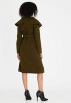 Revenge - Wool-like Longline Wrap Coat Khaki Green