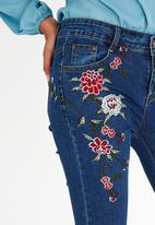 Revenge - Embroidered Jeans Dark Blue
