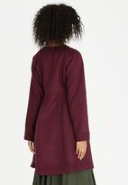 AMANDA LAIRD CHERRY - Patara Wool-like Mandarin Collar Coat Burgundy