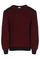 See-Saw - 2 Tone Knit Jumper Dark Red