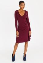 edit - Long Sleeve Wrap Over Dress with Frills - dark purple