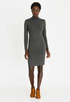 edit - Poloneck Knit Dress Dark Grey