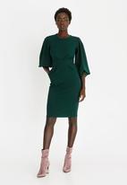 edit - Lantern Sleeve Dress Dark Green
