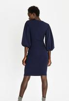 edit - Lantern Sleeve Dress Navy