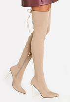 Dolce Vita - Sorrento Block Heeled Thigh High Boots Taupe