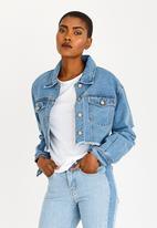 STYLE REPUBLIC - Cropped Denim Jacket Pale Blue