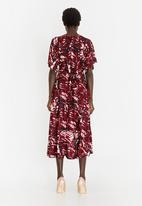 RUFF TUNG - Tuli Printed Wrap Dress Dark Red