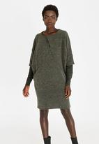 G Couture - Pleat Detail Dress Khaki Green