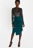 STYLE REPUBLIC - Ruched Detail Skirt Dark Green