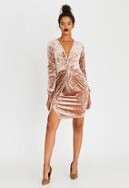 Sassoon - Mink Velvet Wrap Dress Brown
