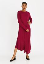 edit - Long sleeve asymmetric dress - red