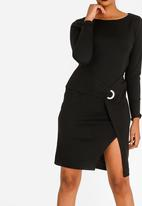 G Couture - Cross-over Buckle Dress Black