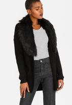 Tokyo Laundry - Cardigan with Detachable Faux Fur Collar Black