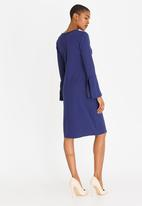 edit - Frill Shift Dress with Flute Sleeve Navy