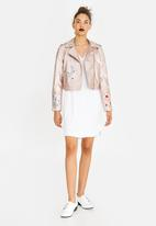 c(inch) - Embroidered Leather-look Biker Jacket Mid Pink