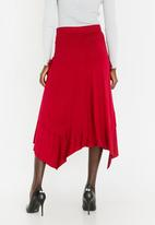 edit - Maxi Asymmetric Skirt Dark Red