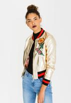 c(inch) - Embroidered Metallic Bomber Jacket Gold