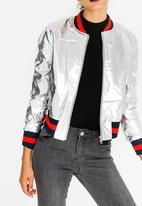 c(inch) - Ribbed Leather-look Bomber Jacket Silver