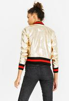 c(inch) - Ribbed Leather-look Bomber Jacket Gold