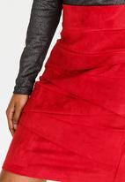 Revenge - Pleat Detail Skirt Burgundy