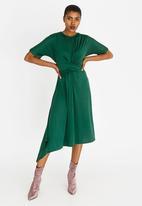 edit - 3/4 Sleeve Front Drape Dress Dark Green
