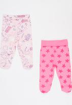 Baby Corner - 2 Pack Footed Pants Mid Pink