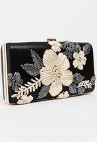 BLACKCHERRY - Bold Flower Clutch Bag Black