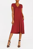 edit - V-neck knot front detail dress - red