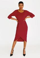 edit - Cross-over hem dress - red