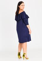 STYLE REPUBLIC PLUS - Bardot Midi Dress with Frill Navy