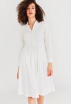 Vero Moda - Poppy Long Sleeve Shirt Dress White
