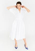 STYLE REPUBLIC - Sleeve Detail Fit And Flare Dress White