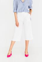 STYLE REPUBLIC - Wide Leg Cropped Trouser Off White