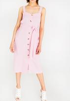 STYLE REPUBLIC - Midi Front Button Dress Pale Pink