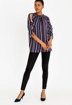 edit - Striped cold shoulder blouse - multi