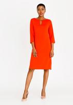 edit - 3/4 Sleeve tunic dress - orange