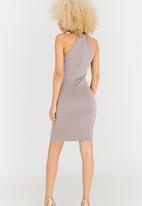 AX Paris - High Neck Lace Bodycon Mini Dress Grey