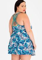 Jacqueline Plus - Monstera Strappy Swimdress - Blue