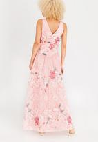 Little Mistress - Maxi Dress with Wrap Front Mid Pink