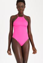 Lithe - Halter One Piece with Low Back Mid Pink