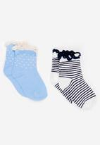 MINOTI - 2 Pack AOP Frill Ankle Socks Blue