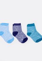 MINOTI - 3 Pack Space Yarn Ankle Socks Multi-colour