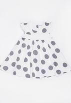 MINOTI - Tribal Polka Dot Jersey Dress with Smocking detail Grey
