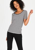 JEEP - Striped Scoop Neck Tee Black and Grey