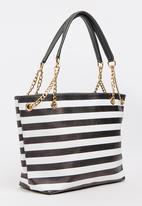 BLACKCHERRY - Striped Shoulder Bag Black and White