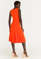edit - Sleeveless Flared Dress with Frills Orange