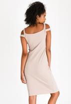 edit - Cold Shoulder Pencil Dress Stone