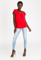 edit - Flutter Sleeve Top with Trim Red