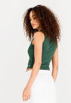 be0bc5b766bf45 Callista Lace-up Crop Top Khaki Green GUESS Blouses