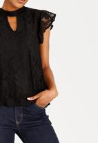 edit - Choker Neckline Lace Blouse Black